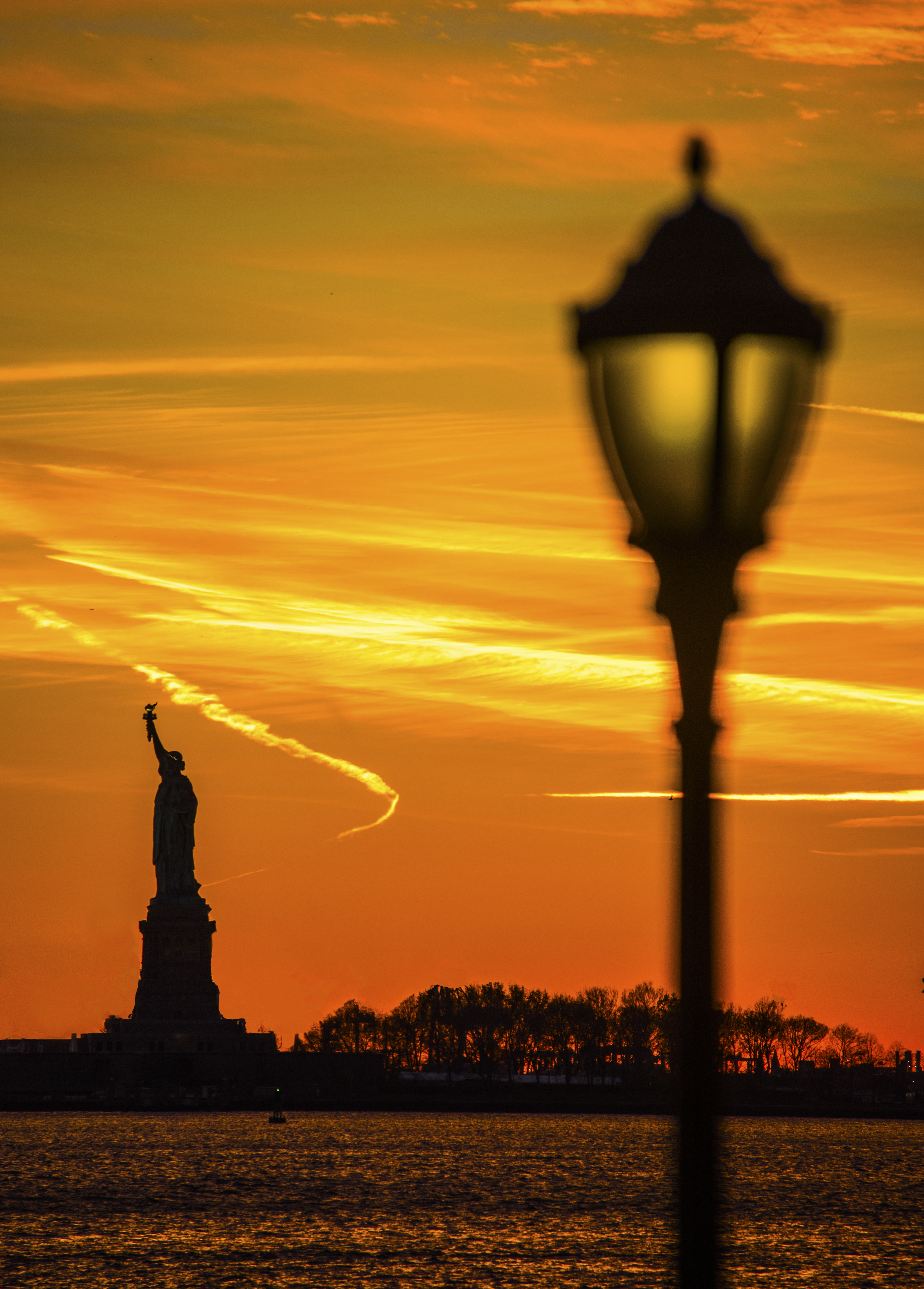Statue of Liberty and lamp post