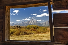 Cabin view of Grand Tetons